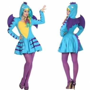 Carnaval feest blauwe draak verkleed carnavalskleding dames