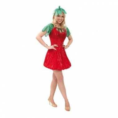 Carnavalskleding aardbei jurkje haarband dames goedkoop