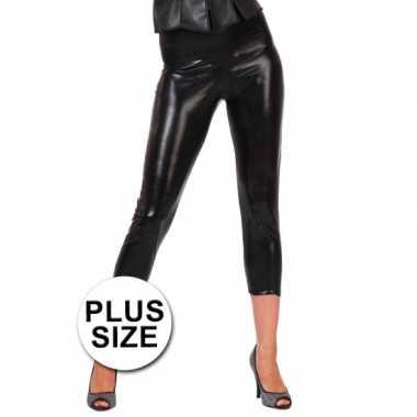 Carnavalskleding  Big size glimmende zwarte legging dames goedkoop