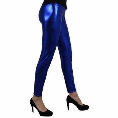 Carnavalskleding blauw metallic legging dames goedkoop