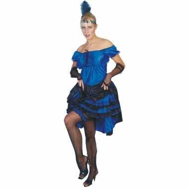 Carnavalskleding  Blauwe carnaval salsa jurk dames goedkoop