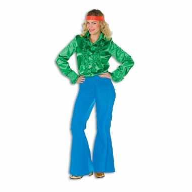 Carnavalskleding blauwe seventies broek dames goedkoop