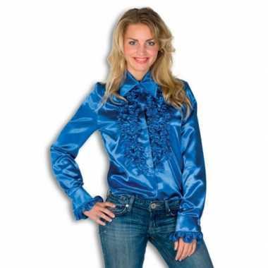 Carnavalskleding blouse blauw rouches dames