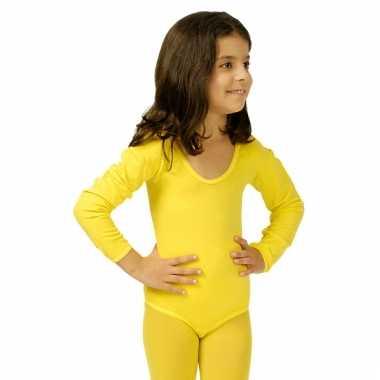 Carnavalskleding  Bodystocking geel kinderen dames goedkoop