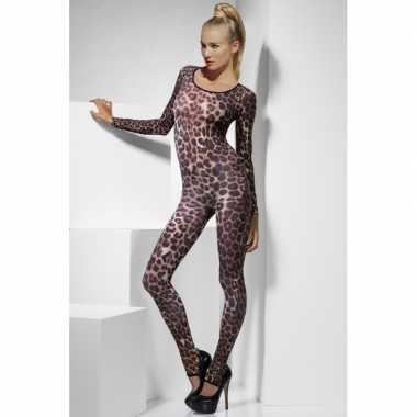 Carnavalskleding  Bodysuit cheeta print dames goedkoop
