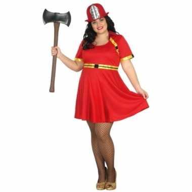 Carnavalskleding brandweer jurkje grote maat dames goedkoop