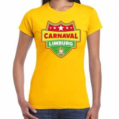 Carnavalskleding carnaval verkleed t shirt limburg geel dames goedkoo