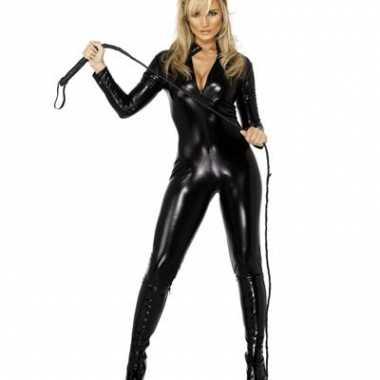 Carnavalskleding  Catsuit zwart lederlook dames goedkoop
