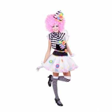 Carnavalskleding clown jurkje zwart wit dames goedkoop