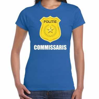 Carnavalskleding commissaris politie embleem carnaval t shirt blauw dames goedkoop