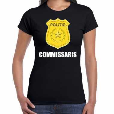 Carnavalskleding commissaris politie embleem carnaval t shirt zwart dames goedkoop