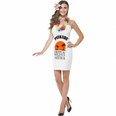 Carnavalskleding dames jurkjes wit drank label peekabu goedkoop
