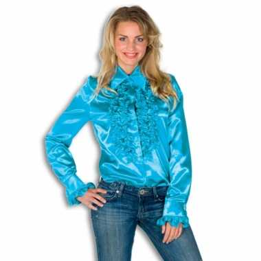 Carnavalskleding dames overhemd blauw rouches goedkoop