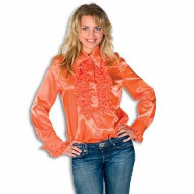 Carnavalskleding dames overhemd oranje rouches goedkoop