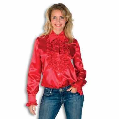 Carnavalskleding dames overhemd rood rouches goedkoop