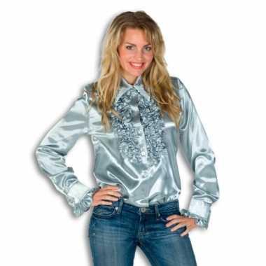 Carnavalskleding dames overhemd zilver rouches goedkoop
