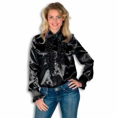 Carnavalskleding dames overhemd zwart rouches goedkoop