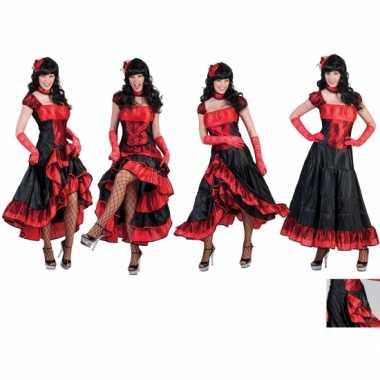 Carnavalskleding dansjurk rood zwart dames