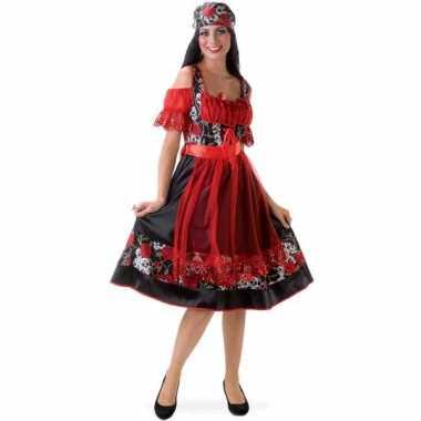 Carnavalskleding  Dirndl jurkje rood zwart dames goedkoop