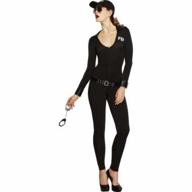 Carnavalskleding  FBI catsuit zwart dames goedkoop