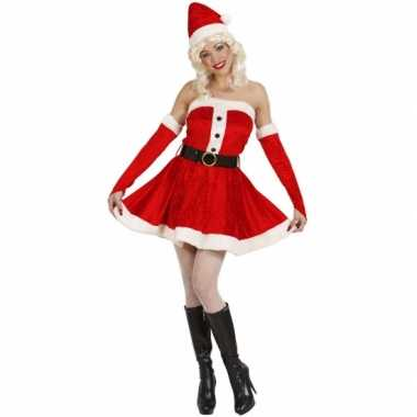 Carnavalskleding  Fluwelen damesjurk kerst goedkoop