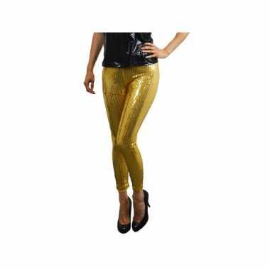 Carnavalskleding  Gouden glitter legging pailletten dames goedkoop