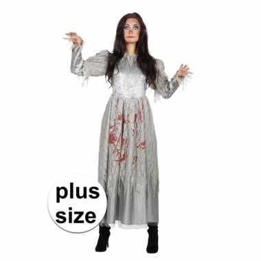 Carnavalskleding grijze jurk grote maat bloed dames goedkoop