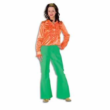 Carnavalskleding groene seventies broek dames goedkoop