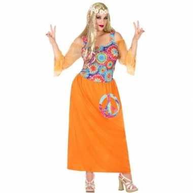 Carnavalskleding grote maat oranje flower power jurk dames goedkoop