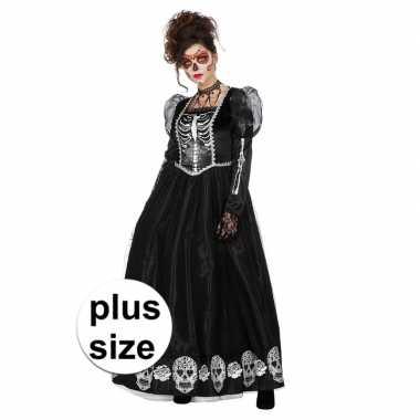 Carnavalskleding grote maat zwarte jurk schedels dames goedkoop