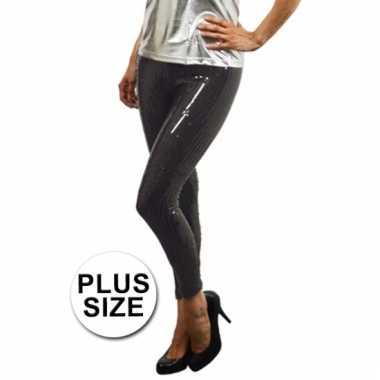 Carnavalskleding grote maat zwarte leggings pailletten dames goedkoop