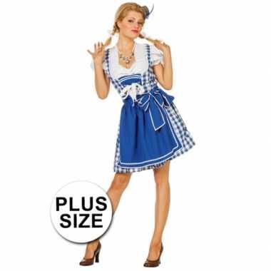 Carnavalskleding  Grote maten Beierse jurk blauw dames goedkoop