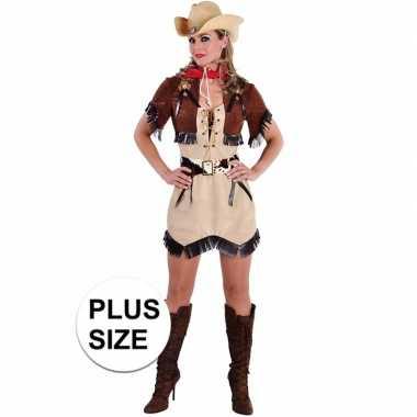 Carnavalskleding grote maten beige cowgirl jurk bolero dames
