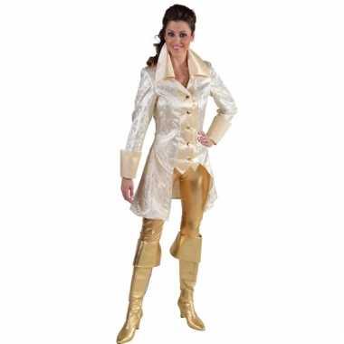 Carnavalskleding  Grote maten jasje brokaat wit dames goedkoop