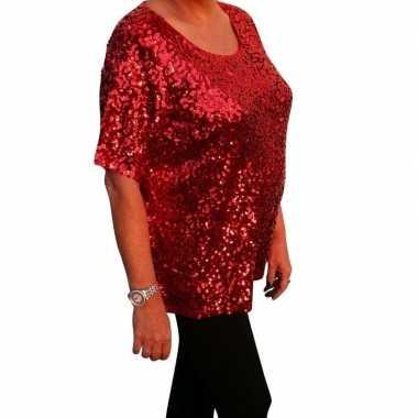 Carnavalskleding grote maten rode glitter pailletten disco shirt dame