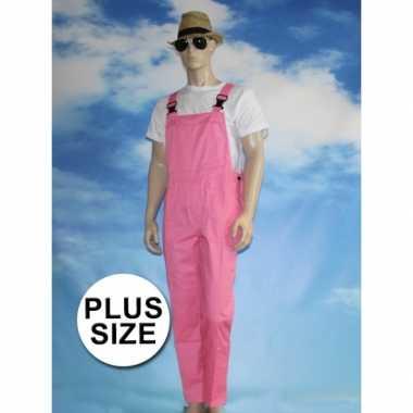 Carnavalskleding grote verkleed tuinbroek roze volwassenen dames goed