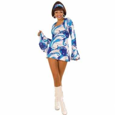 Carnavalskleding Hippie jurk dames blauw goedkoop