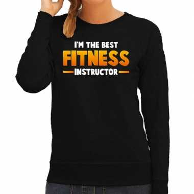 Carnavalskleding im the best fitness instructor sweater zwart dames g