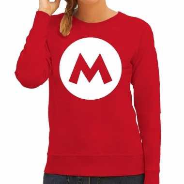 Carnavalskleding italiaanse mario loodgieter verkleed sweater / trui rood dames goedkoop