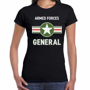 Carnavalskleding landmacht / armed forces verkleed t shirt zwart dame