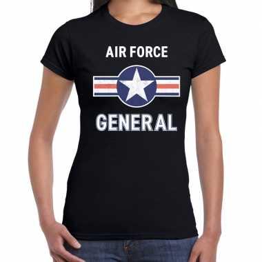 Carnavalskleding luchtmacht / air force verkleed t shirt zwart dames