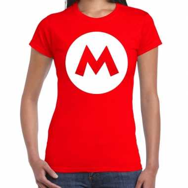 Carnavalskleding mario loodgieter verkleed t shirt rood dames goedkoop