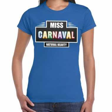 Carnavalskleding miss carnaval verkleed t shirt blauw dames goedkoop