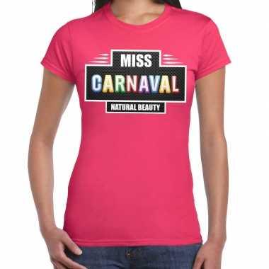 Carnavalskleding miss carnaval verkleed t shirt fuchsia roze dames go