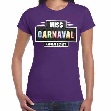 Carnavalskleding miss carnaval verkleed t shirt paars dames goedkoop