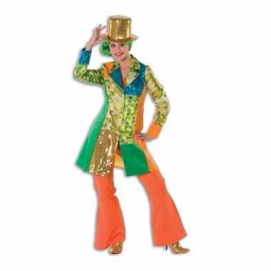 Carnavalskleding oranje seventies broek dames goedkoop