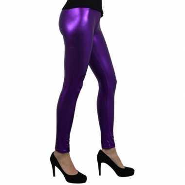 Carnavalskleding paars metallic legging dames goedkoop