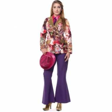 Carnavalskleding paarse seventies broek dames goedkoop