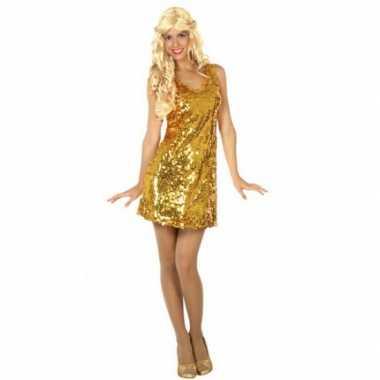 Carnavalskleding pailletten jurkje goud dames goedkoop
