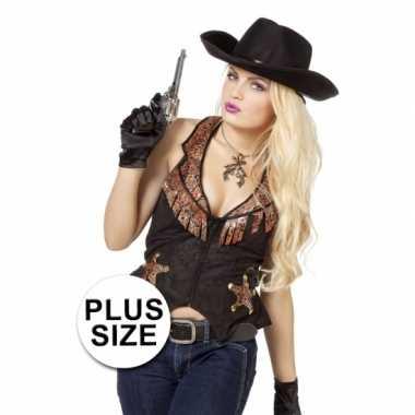 Carnavalskleding plus size zwarte cowboy vest dames goedkoop